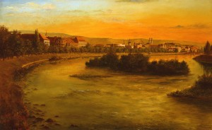 View Of Uzhhorod From The Bridge, 1990, oil on canvas, 72x117