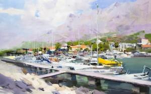 Makarska Harbour 2017 oil on canvas 65x40.