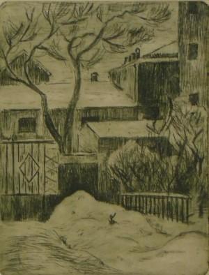 'Ленінградський дворик', 1959, пап.офорт, 14,5х11