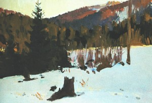 Snow In Polonyna, 1953, oil on cardboard, 25х35