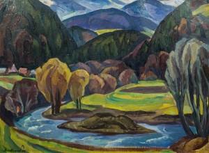 Гірський краєвид з рікою, 59,5х80