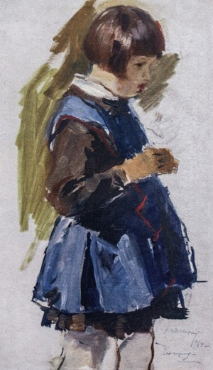 Morika In School Uniform, 1964, oil on cardboard, 39x22