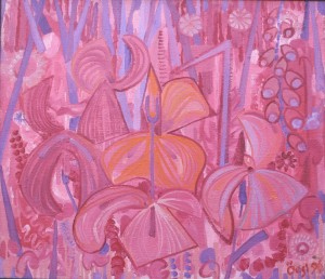 Pink Irises, from the photo archive of Y. Nebesnyk, 1996, oil on canvas, 70x80