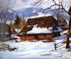 Хатки у селі Ставне, 1960, 50x60