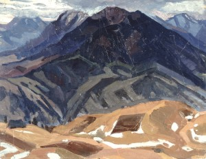 Petros and Hoverla Mountains, 1961, oil on cardboard