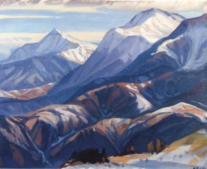 Petros And Hoverla Mountains, 1990, oil on canvas, 100x126