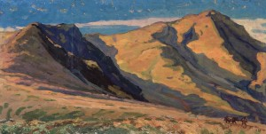 Mount Petros', 1960-2003, oil on cardboard, 58x114