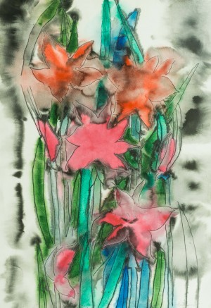 Pink Flowers, 2003, watercolour on paper, 75х52