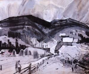 Околиця гірського села, кін. 1960-х, пап. гуаш. акв. 48х57