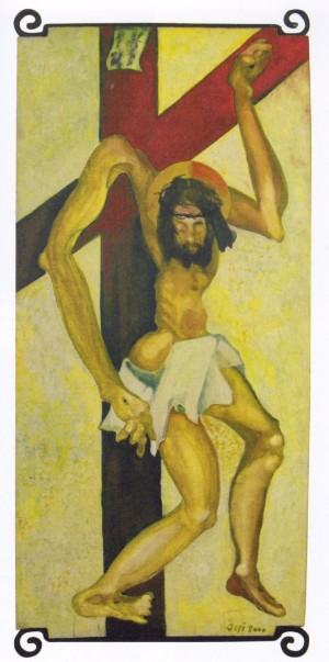 Crucifix, 2000, oil on board, 112,5х52