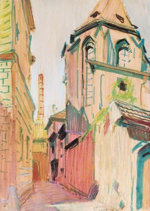 Old Prague, mixed technique on paper, 43х31
