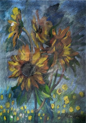 Sunflowers, pastel on cardboard, 69x49