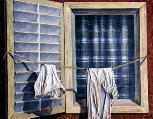 Вікно на Адріатику (Із серії «По Югославії»), 1990, п.о. колаж 80х100