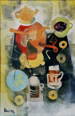 RussianTea, from the photo archive of Y. Nebesnyk, 1992, oil on canvas 77x51