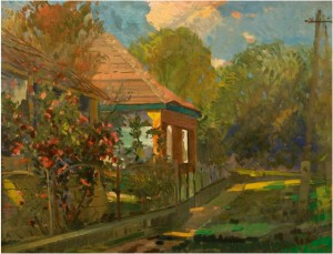 An Old House With Roses Bush, the 1990s, oil on canvas