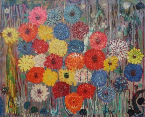 Garden Flowers, from the photo archive of Y. Nebesnyk, 1984, oil on canvas, 90x110