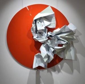 'Flower', from the Genesis series, diameter 120 cm, colored metal on chipboard, 2016