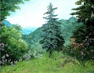 'Nevytske Village. View Of The Castle Hill', 1998, oil on canvas, 46x58