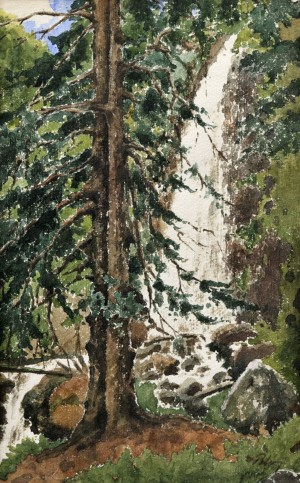 'Tree Near The Waterfall', the 1930s, watercolour on paper, 47x30.jpg