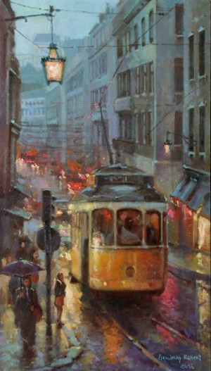 Evening Lisbon, 2016, oil on canvas, 70x40