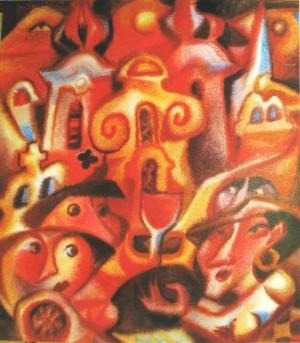 Червоне вино, 2010, пап.акв., 70х50