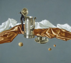 Objects On The Grey, oil, masonite, gesso ground, 56x64