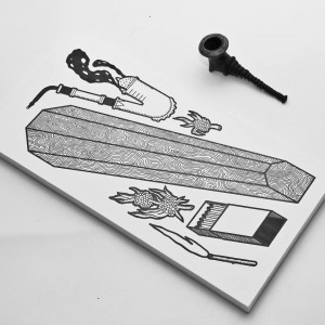 Опир курить люльку навіть у гробі, 2014, пап. інд. туш, 20х40