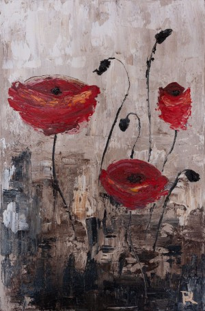 'Poppies', 2017, oil on canvas