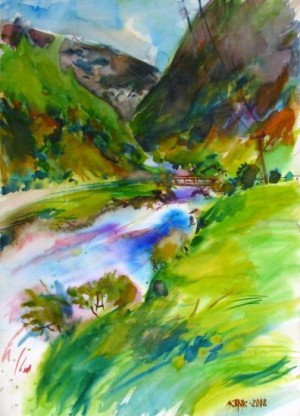 Nyzhnii Bystryi. Mountain Stream, 2008, watercolour on paper, 70х50