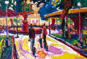 Київ. Біля фонтану, 2009 , п.о., 100х120