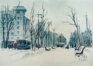Пащенко М. 'Харків. Проспект Леніна', 1962, офорт, акватинта