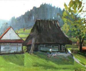 Деревяна хата у с. Щербовець, 1983, 50х60