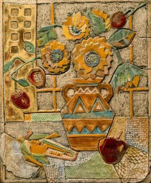 Жолтані Х. 'Натюрморт', 2017, шамот, ангоби та поливка