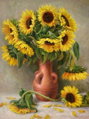 Sunflowers In A Vase, oil on cardboard, 65x50