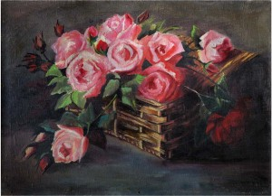 Roses In The Basket, the 1950s, oil on canvas, 54x74,5