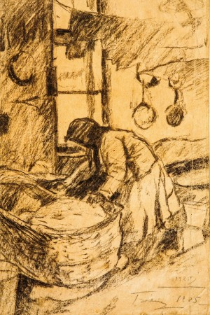 Above The Cradle, 1925, pencil on paper, coal, 39,5х25,5