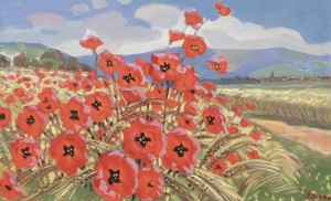 Field. Poppies, 1978, tempera on canvas, 56x92