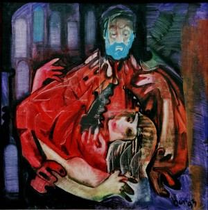 Bluebeard, from the photo archive of Y. Nebesnyk, 1993, oil on canvas, 100x100