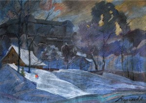 Uzhhorod Castle In Winter, the 1970s, pastel on cardboard, 48x69