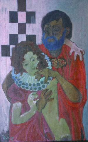 Blue Beard, from the photo archive of Y. Nebesnyk, 1996, oil on canvas, 131x84