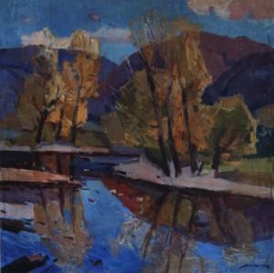 Осінній пейзаж з річкою, кін. 1960-х, п.о. 109х109