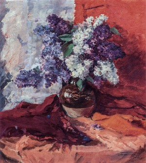 Still Life With Lilac, 1962, oil on cardboard, 72x64