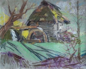 Hut With A Mill, 1945, oil on cardboard, 46x58