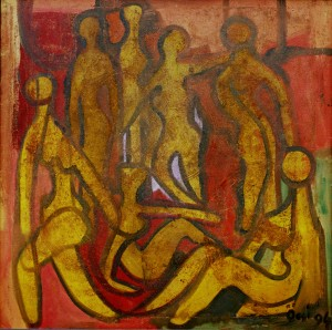 Seven  Women On The Sun, from the photo archive of Y. Nebesnyk. 1994, oil on canvas, 80x80