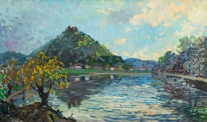 Khust Castle, the 1950s, oil on canvas, 52,5x87,5