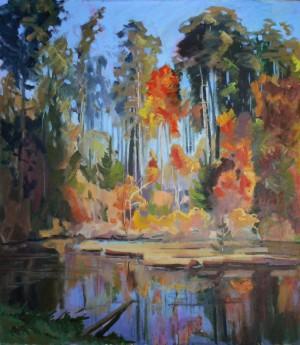 Дике закарпатське озерце, 2014, п.о., 80х70