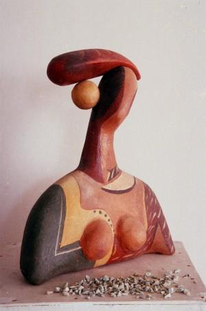 Courtesan 1997. chamotte. moulding. engobe. ceramic glaze.30х11х40