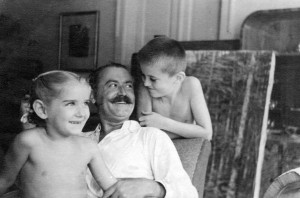 F. Manailo with his children Ivan and Kateryna, 1952