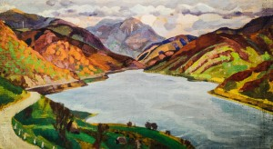 Vilshany water reservoir, the 1960s, canvas, tempera, 61х108