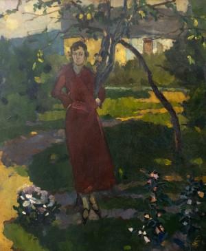 Сестра художника в саду, 1925, к.о